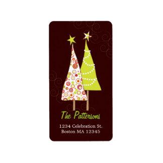 Retro Funky Christmas Trees Address Labels