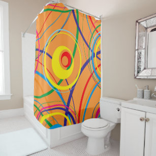 Retro Funky Circle Design Shower Curtain