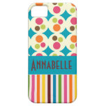 retro funky dots and stripes pattern personalise iPhone 5 covers