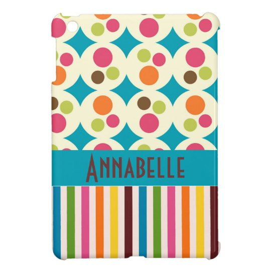 retro funky dots and stripes pattern personalise iPad