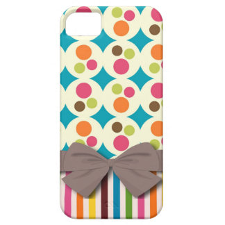 retro funky dots and stripes pattern with faux bow