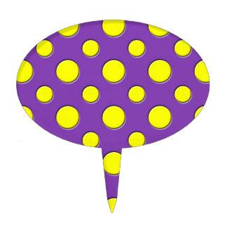 Retro Funky Fun Yellow Purple Polka Dots Cake Topper