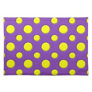 Retro Funky Fun Yellow Purple Polka Dots Placemat