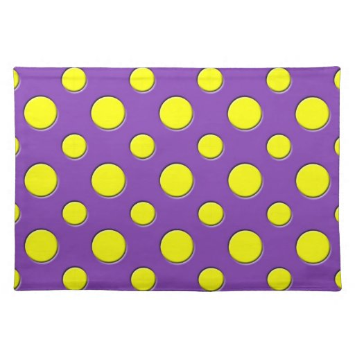 Retro Funky Fun Yellow & Purple Polka Dots Placemat
