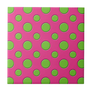 Retro Funky Green Polka Dots Pink Background Small Square Tile