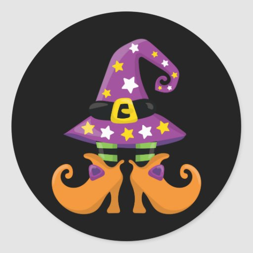 Retro Funky Halloween Round Stickers