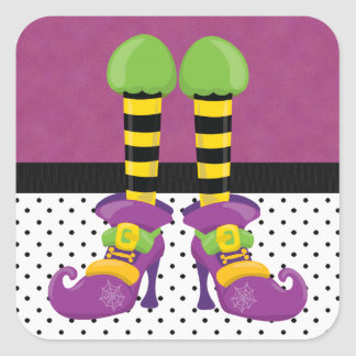 Retro Funky Halloween Witch Shoes Square Sticker