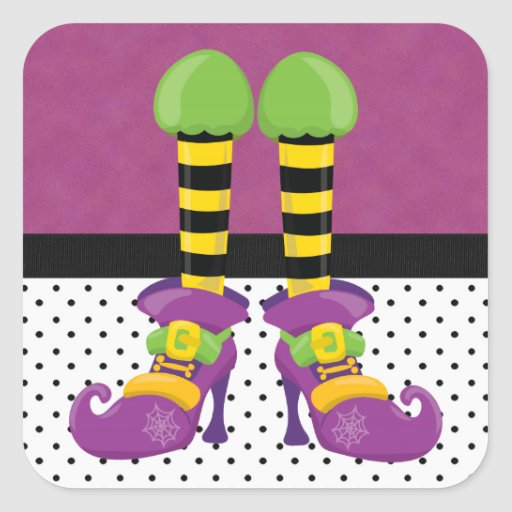 Retro Funky Halloween Witch Shoes Square Stickers