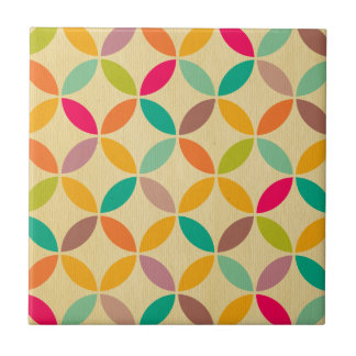 Retro funky multi 70's color pattern hipster chic small square tile