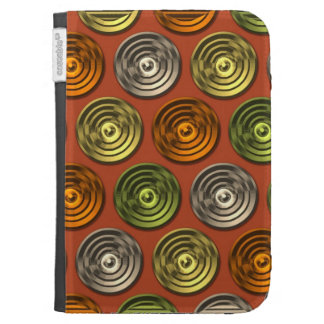 Retro Funky Orange Abstract Pattern Kindle 3 Covers