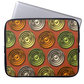 Retro Funky Orange Abstract Pattern Laptop Sleeve
