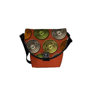 Retro Funky Orange Abstract Pattern Courier Bag