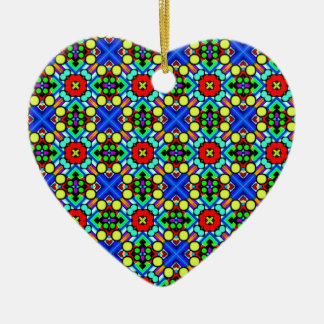 retro funky pattern ceramic heart decoration