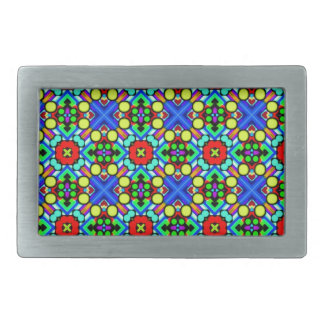 retro funky pattern rectangular belt buckles