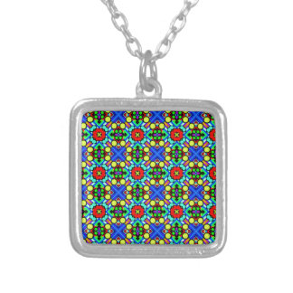 retro funky pattern silver plated necklace