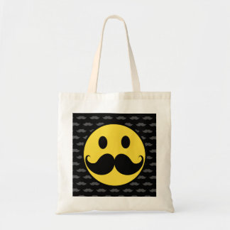 Retro Funky Smiley Mustache Moustache Tote Bag