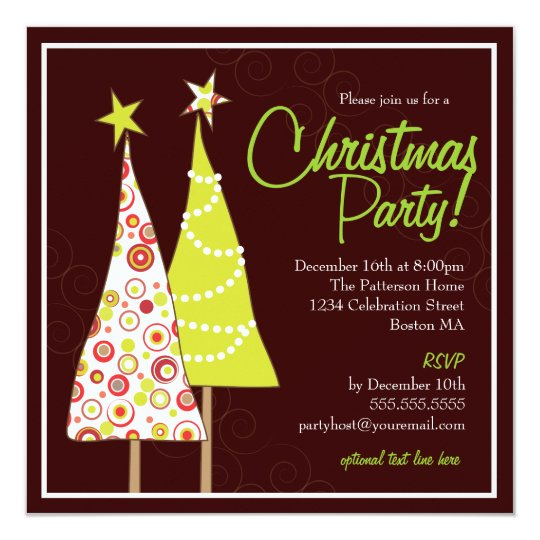 Retro Funky Tree Christmas Party Invitation