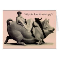 Funny pig birthday cards invitations zazzle retro funny birthday card lady on pig saying bookmarktalkfo Image collections