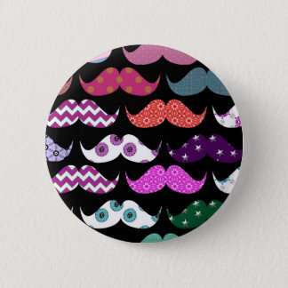 Retro Funny Girly Mustache Moustache Pattern 6 Cm Round Badge