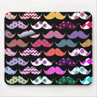 Retro Funny Girly Mustache Moustache Pattern Mouse Pad
