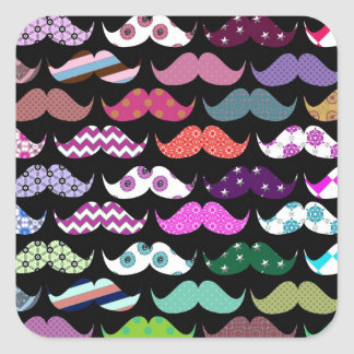 Retro Funny Girly Mustache Moustache Pattern Square Sticker