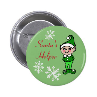 Retro Funny Holiday Christmas Elf Button Pin