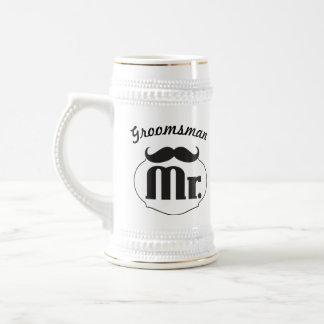 Retro Funny Mr. Mustache Groom Beer Steins