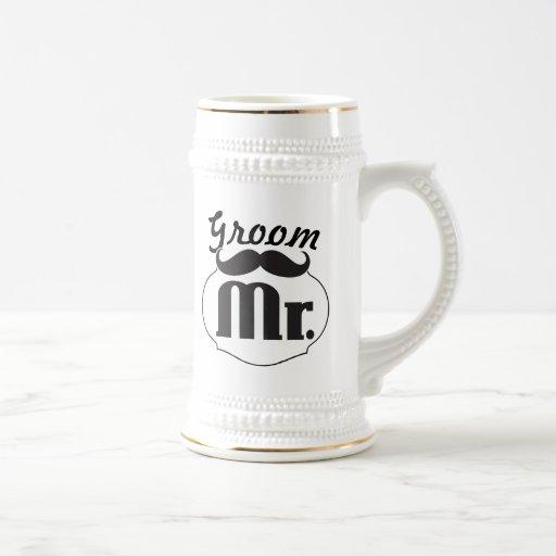 Retro Funny Mr. Mustache Groom Mugs