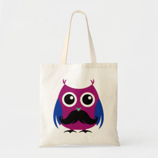 Retro Funny Owl with Handlebar Mustache Tote Bags