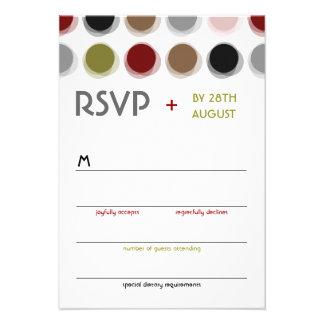Retro Fuzzy Dots Colorful Mod Art Wedding RSVP Personalized Invitations