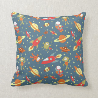 Retro Galaxy Outer Space Rockets & Astronauts Cushion