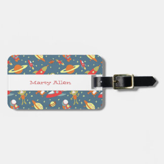Retro Galaxy Outer Space Rockets & Astronauts Luggage Tag