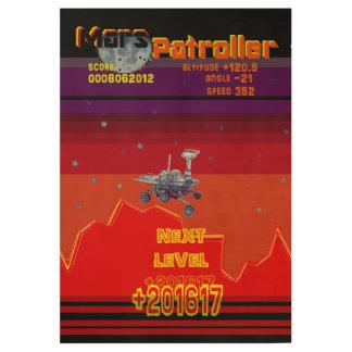 Retro Game 80 style Mars Patroller Wood Poster