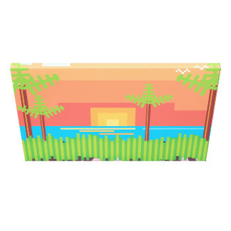 Retro Game - Tropical Sunset Gallery Wrap Canvas
