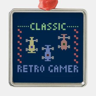 Retro Gamer Racing Silver-Colored Square Decoration