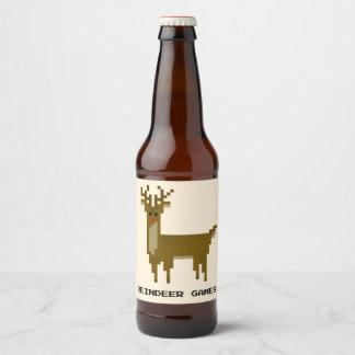 Retro Gamer Reindeer Games 8bit Holiday Beer Bottle Label