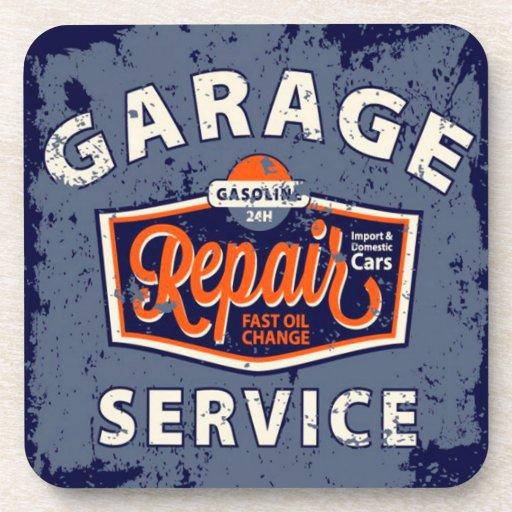 Retro garage sign drink coasters zazzle for Vintage garage signs uk