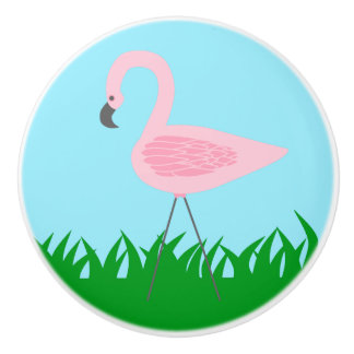 Retro Garden Flamingo Ceramic Knob