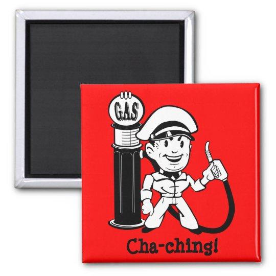 Retro Gas Station Guy Square Magnet