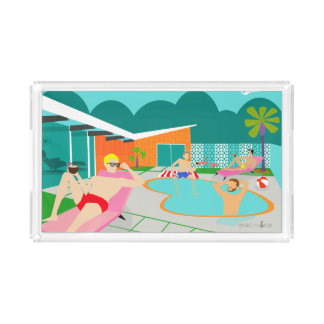 Retro Gay Pool Party Acrylic Tray