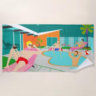 Retro Gay Pool Party Beach Towel
