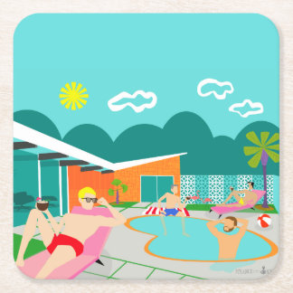 Retro Gay Pool Party Hard Paper Coaster