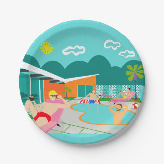 Retro Gay Pool Party Paper Plate