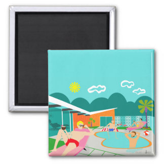 Retro Gay Pool Party Square Magnet
