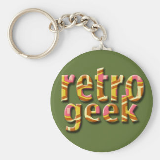 Retro Geek Basic Round Button Key Ring