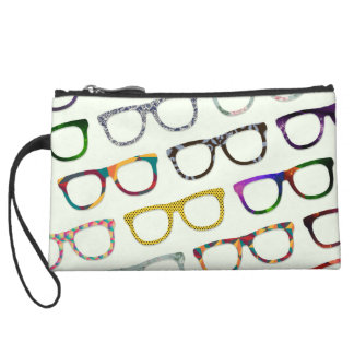 Retro Geek Hipster Glasses Pattern wristlet