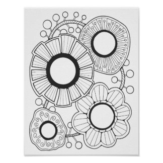 Retro Gem Flower Cardstock Adult Coloring Page Poster