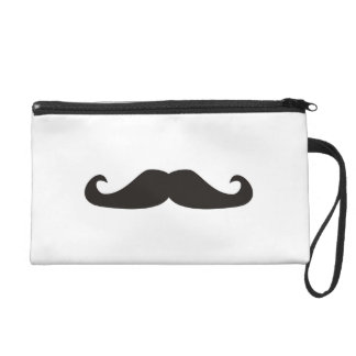 Retro gentelman mustaches hipsters Wristlet