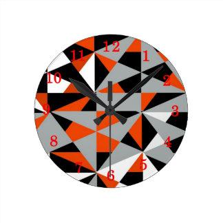 Retro Geometric Funky Orange Grey Black Pattern Clocks