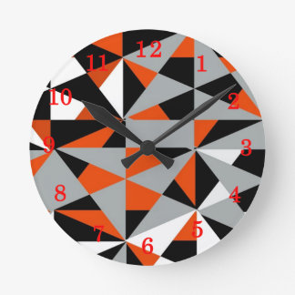 Retro Geometric Funky Orange Grey Black Pattern Round Clock